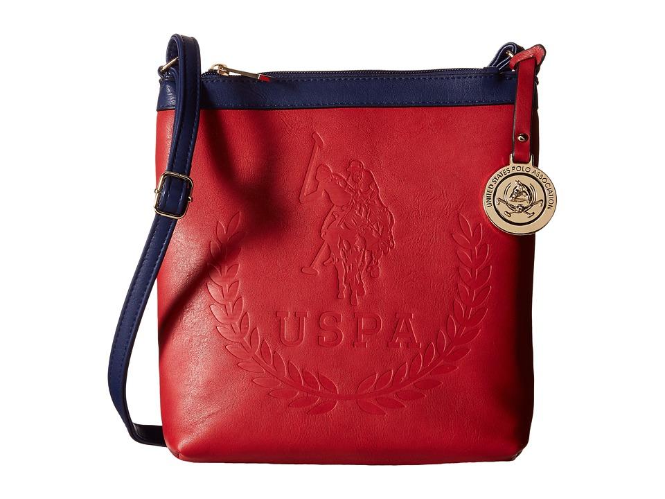 U.S. POLO ASSN. - Billy Signature Logo Embossed Crossbody (Red/Navy) Cross Body Handbags