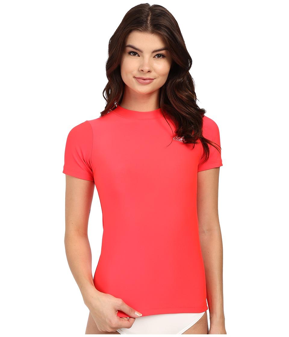 Billabong - Core Loose Fit Short Sleeve Rashguard (Red Hot) Women's Swimwear
