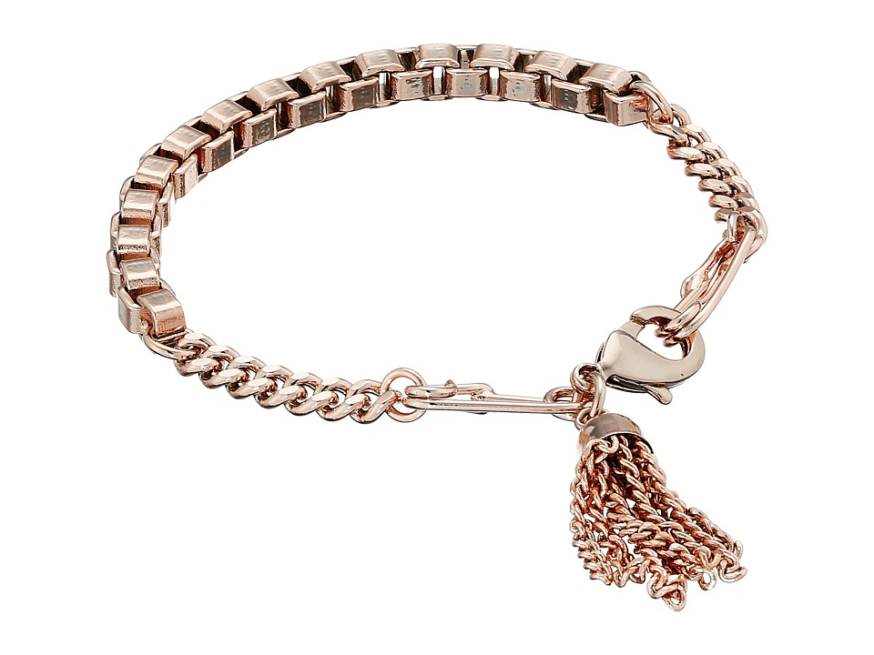French Connection - Safety Pin Tassel Bracelet (Rose Gold) Bracelet