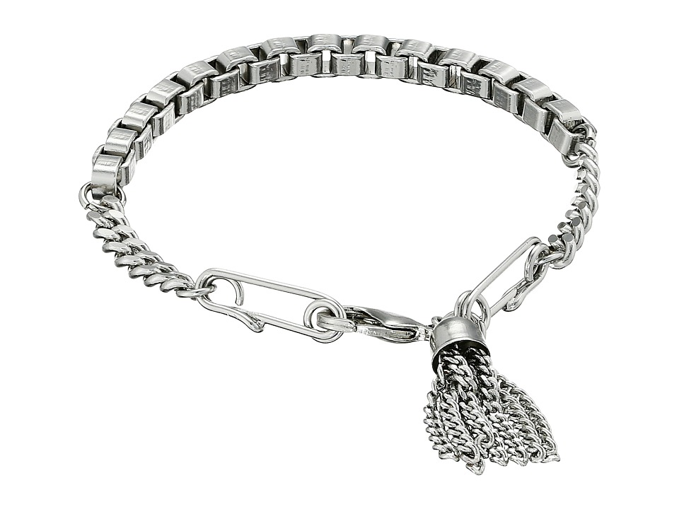 French Connection - Safety Pin Tassel Bracelet (Silver) Bracelet