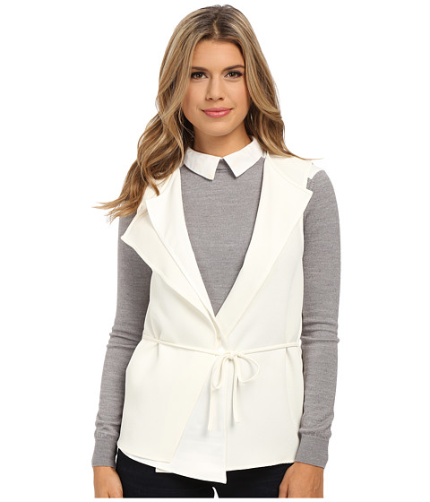 Olive & Oak - Asymmetrical Woven Soft Vest (Cream) Women's Vest