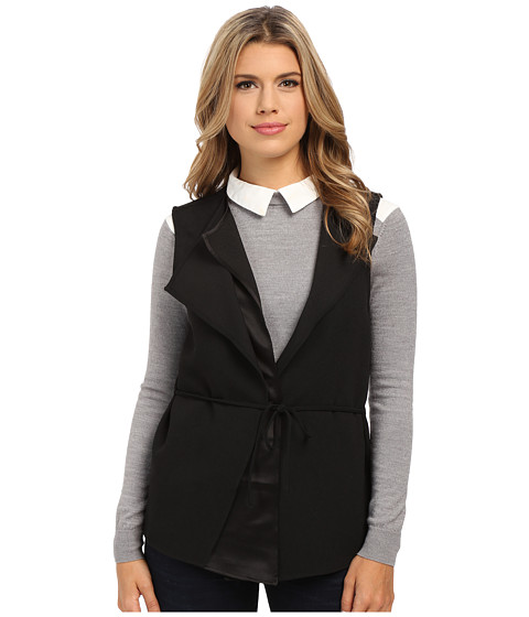 Olive & Oak - Asymmetrical Woven Soft Vest (Black) Women's Vest