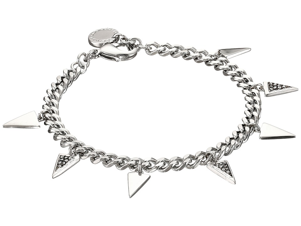 French Connection - Mini Stone Set Triangle Charm Bracelet (Rhodium/Clear Stone) Bracelet