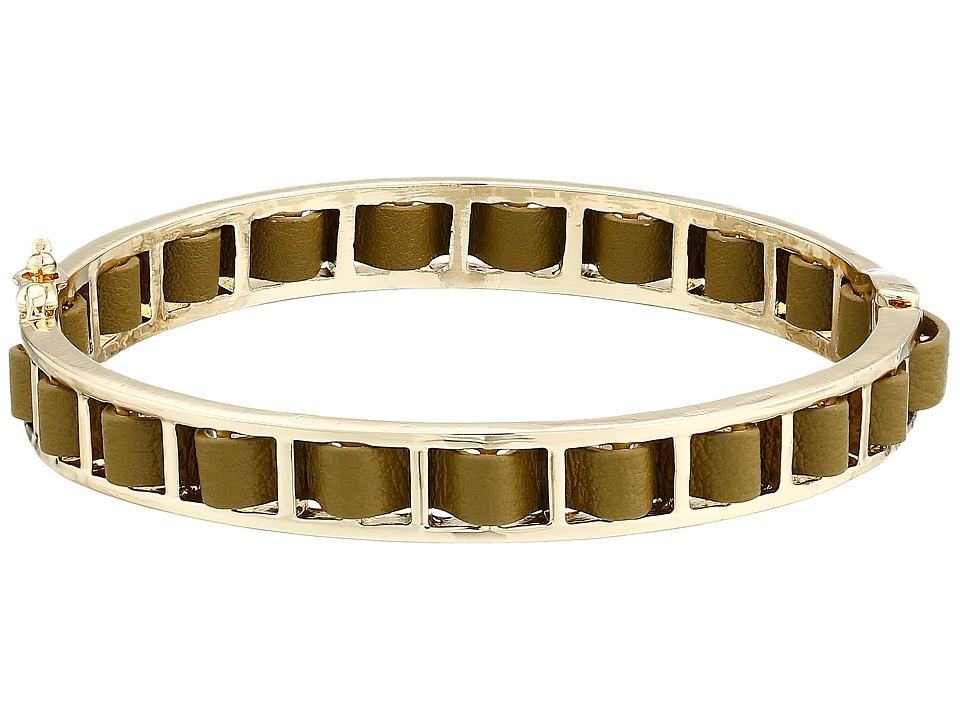 French Connection - Woven Leather Bangle Bracelet (Gold/Olive Green) Bracelet