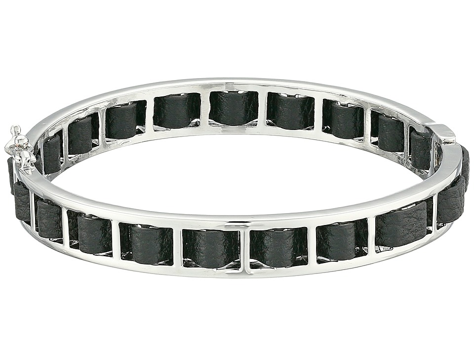 French Connection - Woven Leather Bangle Bracelet (Silver/Black) Bracelet