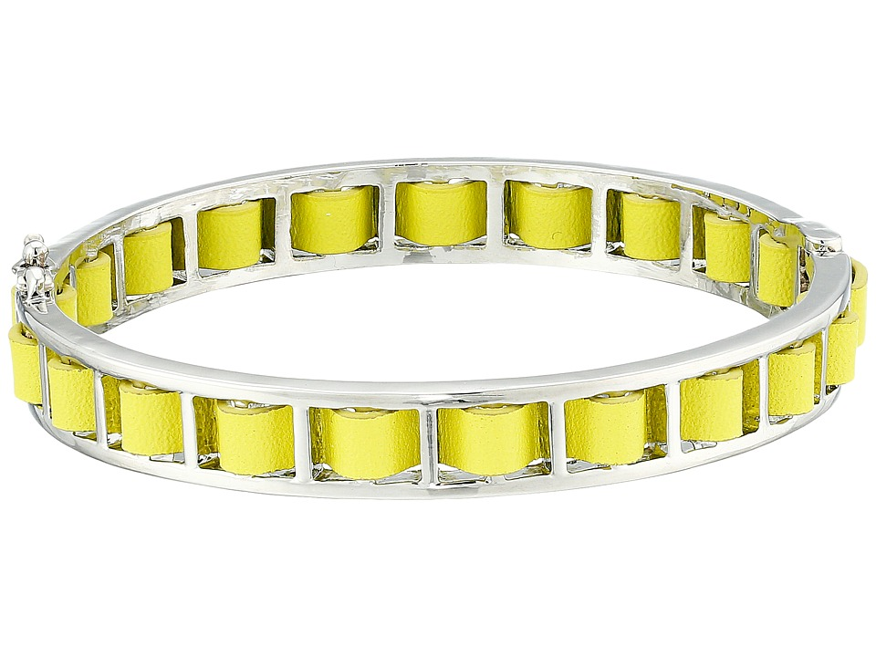 French Connection - Woven Leather Bangle Bracelet (Silver/Yellow) Bracelet