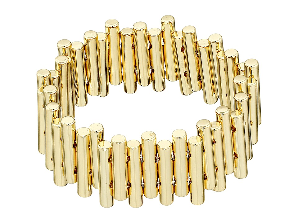 French Connection - Staggered Tube Stretch Bracelet (Gold) Bracelet