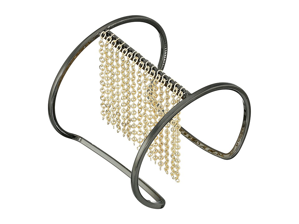 French Connection - Chain Fringe I Cuff Bracelet (Hematite/Gold) Bracelet