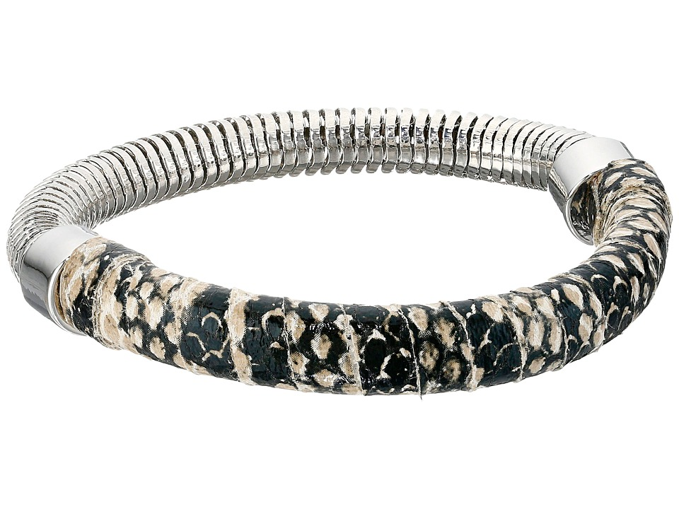 French Connection - Leather Wrapped Snake Chain Stretch Bangle Bracelet (Silver/Neutral Snake Print) Bracelet