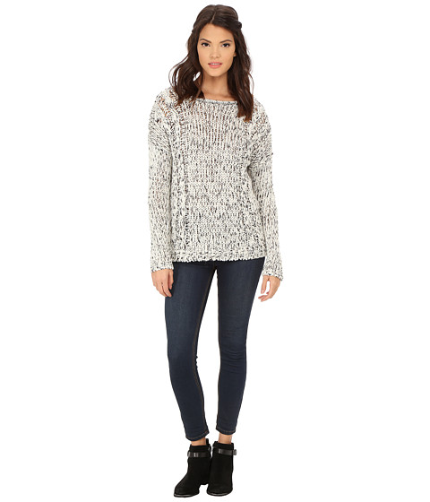 Olive & Oak - Long Sleeve Crew Neck Sweater Top (Black/White) Women's Sweater