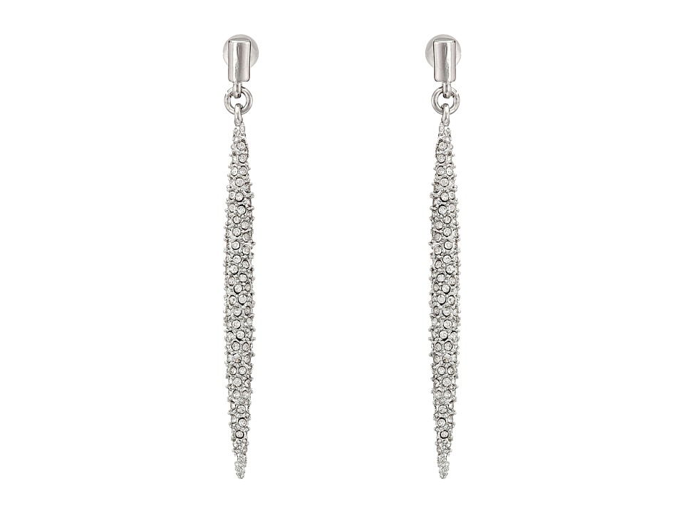 French Connection - Pave Dagger Linear Earrings (Rhodium/Clear Stone) Earring