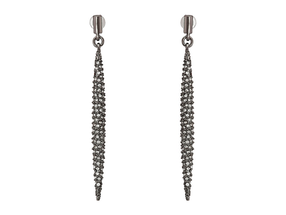 French Connection - Pave Dagger Linear Earrings (Hematite/Clear Stone) Earring