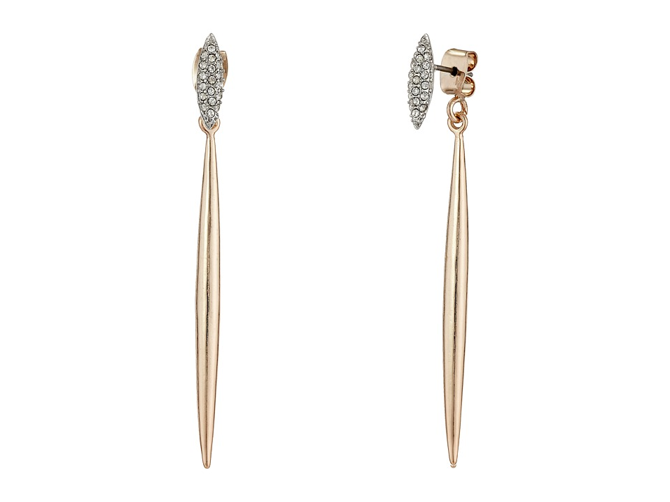 French Connection - Pave Stud Spike Front/Back Earrings (Silver/Rose Gold/Clear Stone) Earring