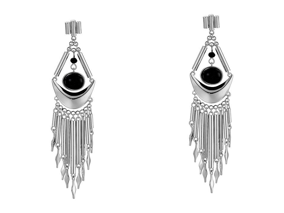 French Connection - Metal Fringe Chandelier Earrings (Silver/Black) Earring