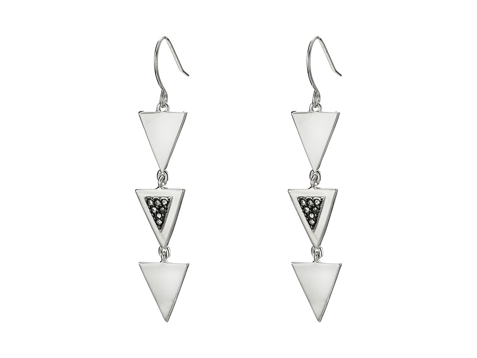 French Connection - Triple Mini Triangle Stone Set Linear Earrings (Rhodium/Clear Stone) Earring