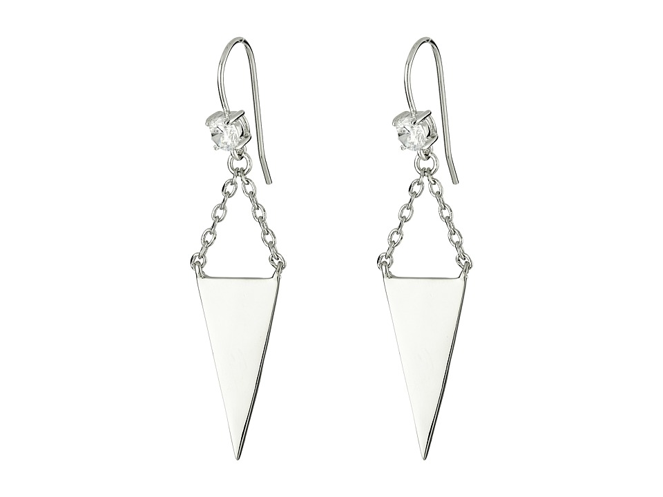 French Connection - Stud with Triple Mini Triangle Linear Earrings (Rhodium/Clear Stone) Earring