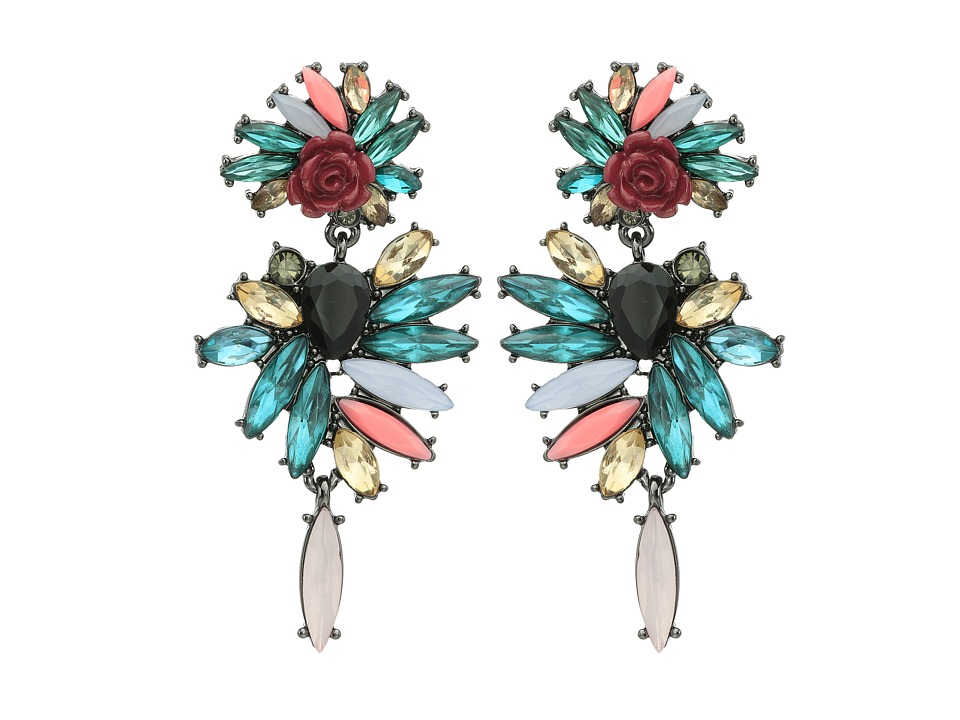 French Connection - Stone Statement Chandelier Earrings (Hematite/Multicolor) Earring