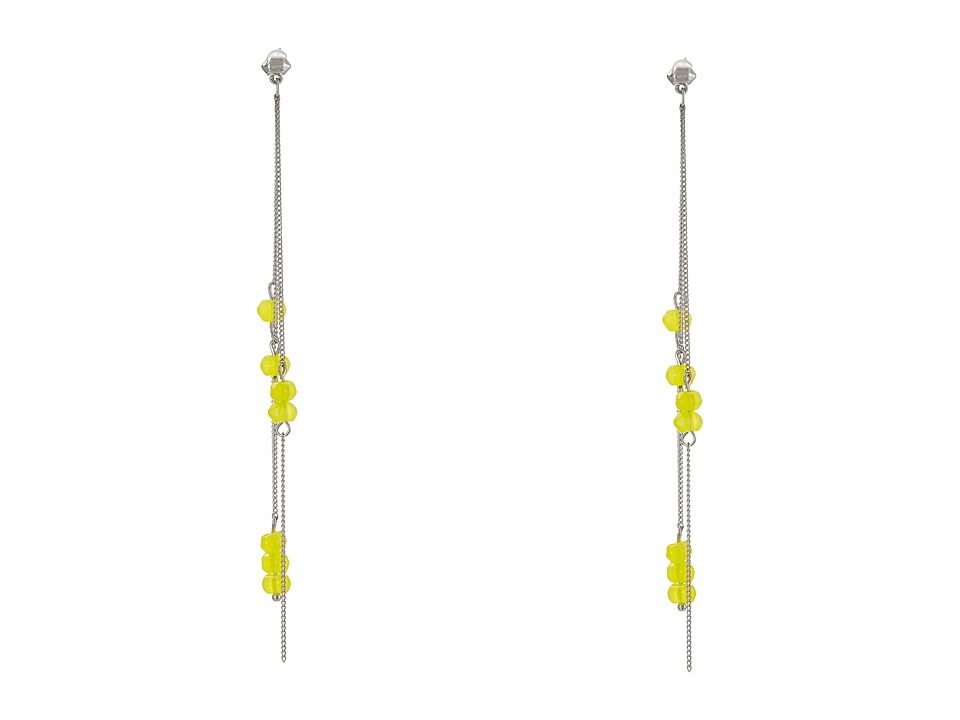 French Connection - Linear Spike Bead Earrings (Silver/Yellow) Earring