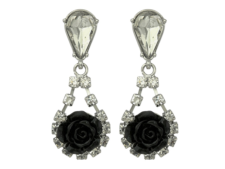 French Connection - Rose Teardrop Earrings (Silver/Clear Stone/Black) Earring