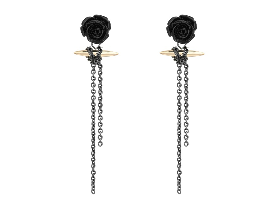French Connection - Rose Dagger Linear Rose Earrings (Rose Gold/Hematite/Black) Earring