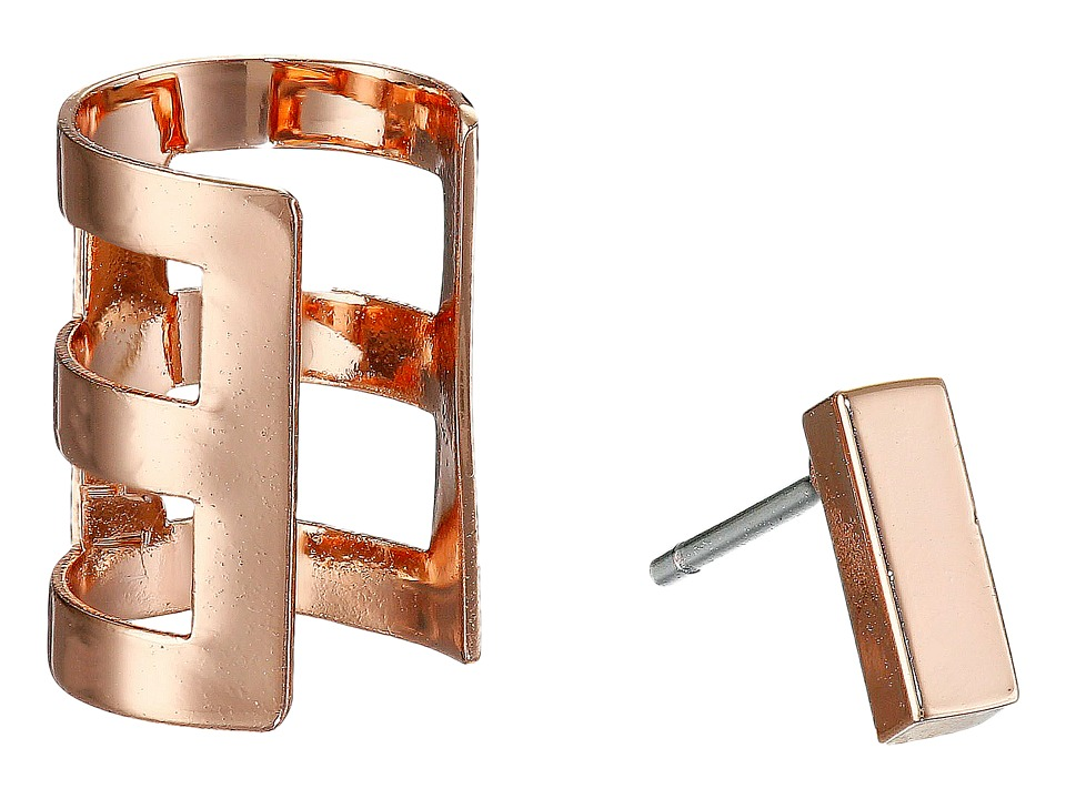 French Connection - Rectangle Bar Single Earrings Cuff Set (Rose Gold) Earring