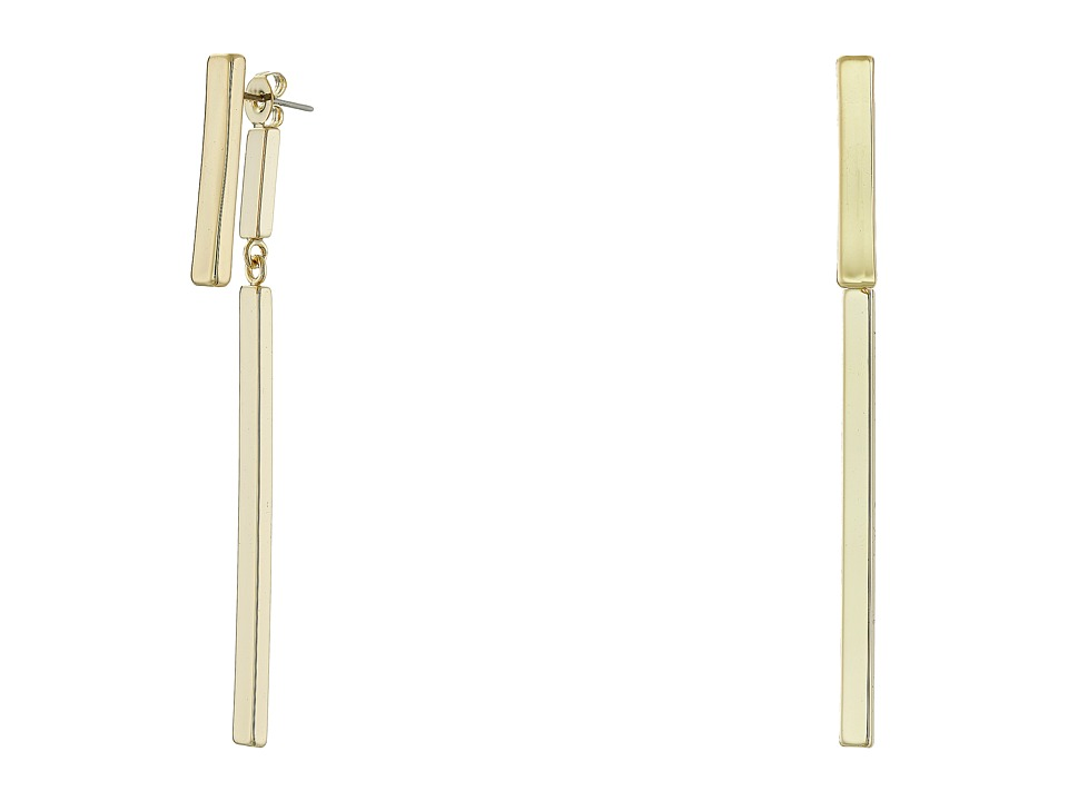 French Connection - Modern Bar Front/Back Earrings (Gold) Earring