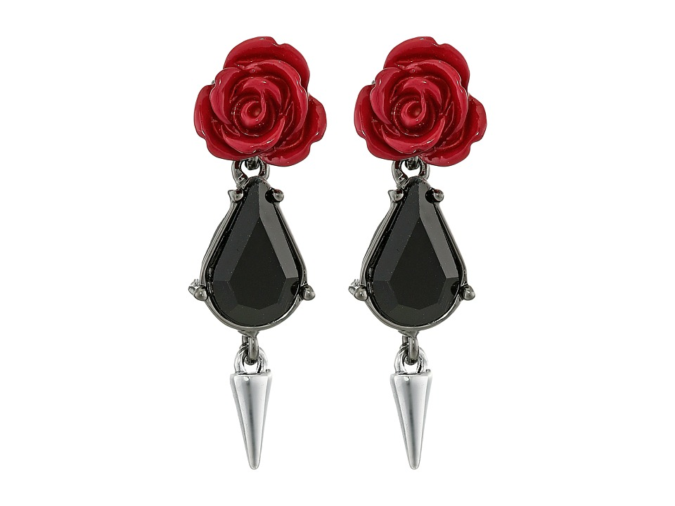 French Connection - Rose Dagger Drop Earrings (Hematite/Silver/Burgundy) Earring