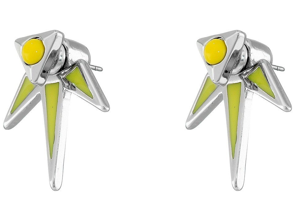 French Connection - Enamel Dagger Front/Back Earrings (Silver/Yellow) Earring