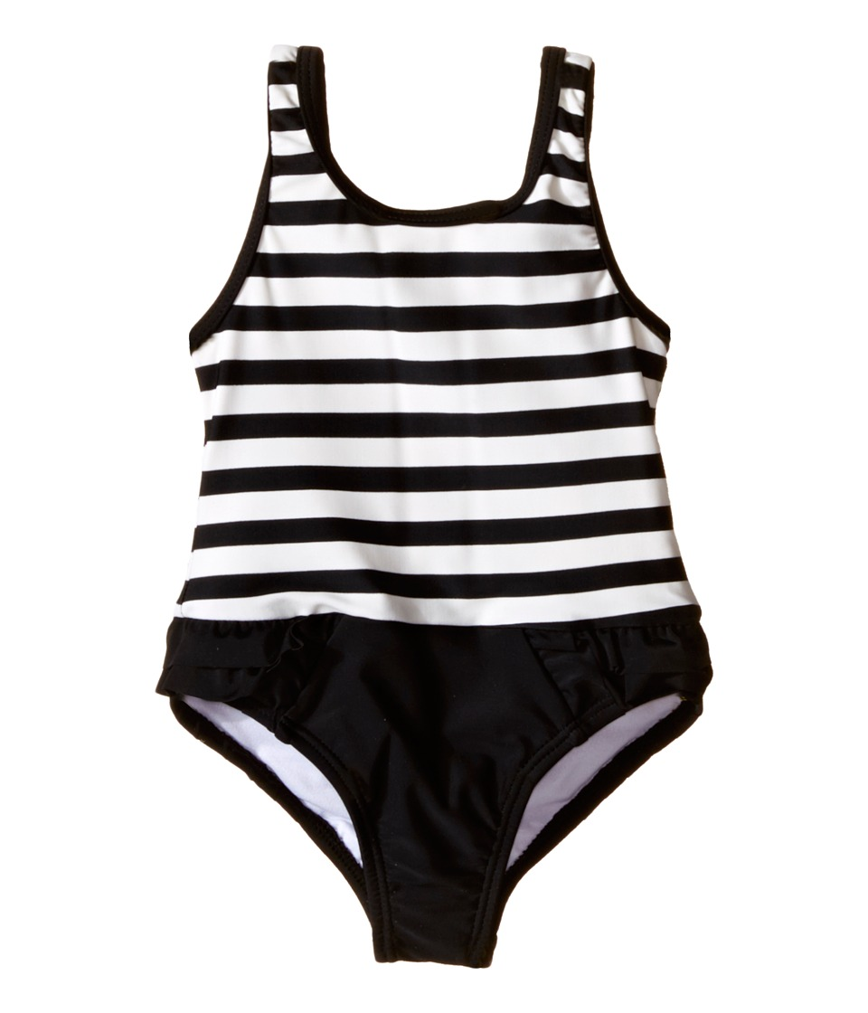 Kate Spade New York Kids - Stripe Ruffle One-Piece (Infant) (Black/Cream) Girl's Swimsuits One Piece