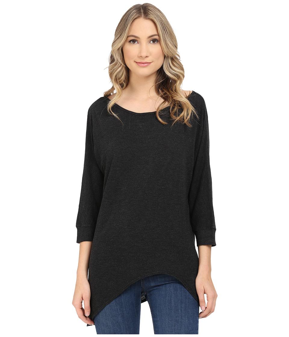 Lanston - 3/4 Sleeve Asymmetrical Tunic (Black) Women's Blouse