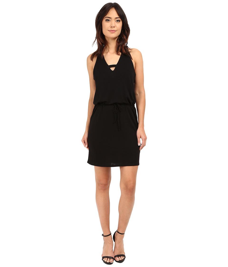 Lanston - Cross V Mini Dress (Black) Women's Dress