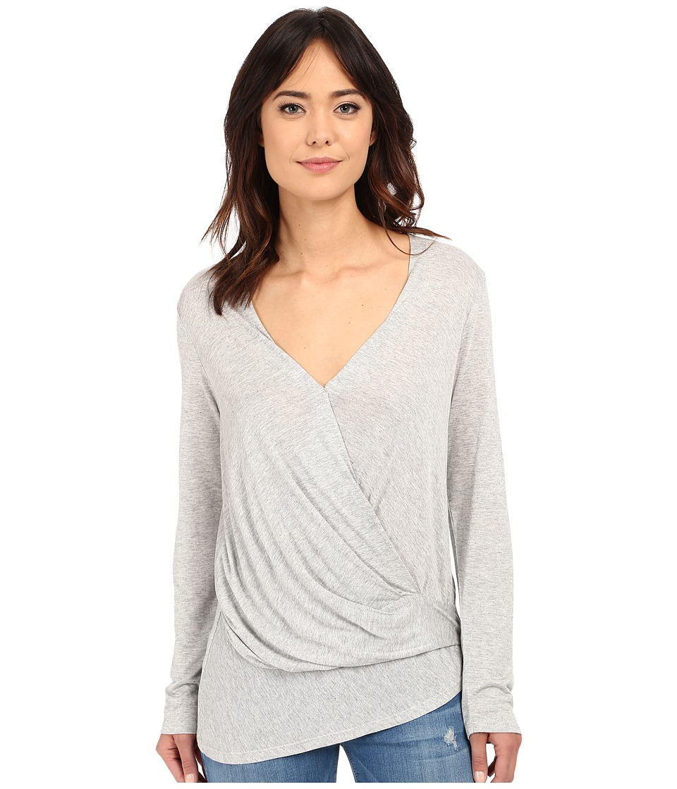 Lanston - Long Sleeve Asymmetrical Surplice (Heather) Women's Long Sleeve Pullover