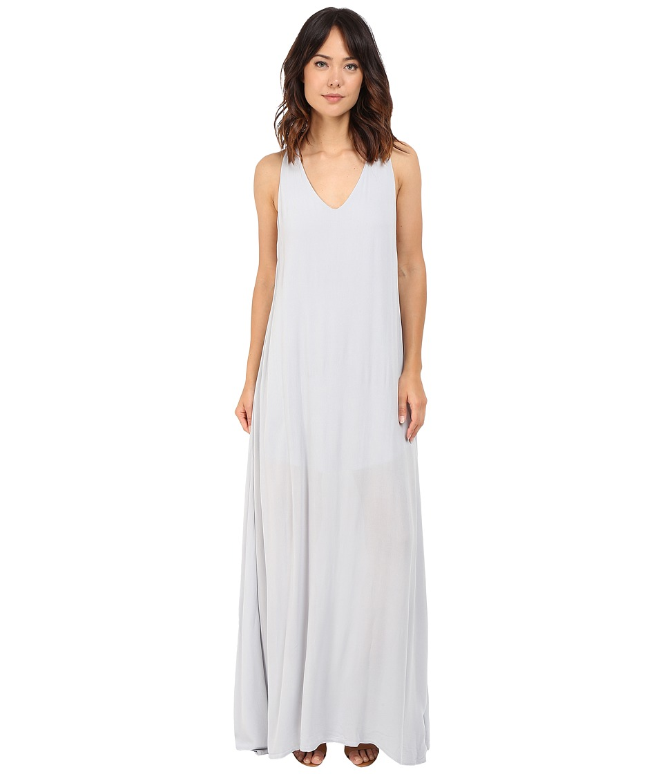 Lanston - Deep V Open Maxi Dress (Slate) Women's Dress