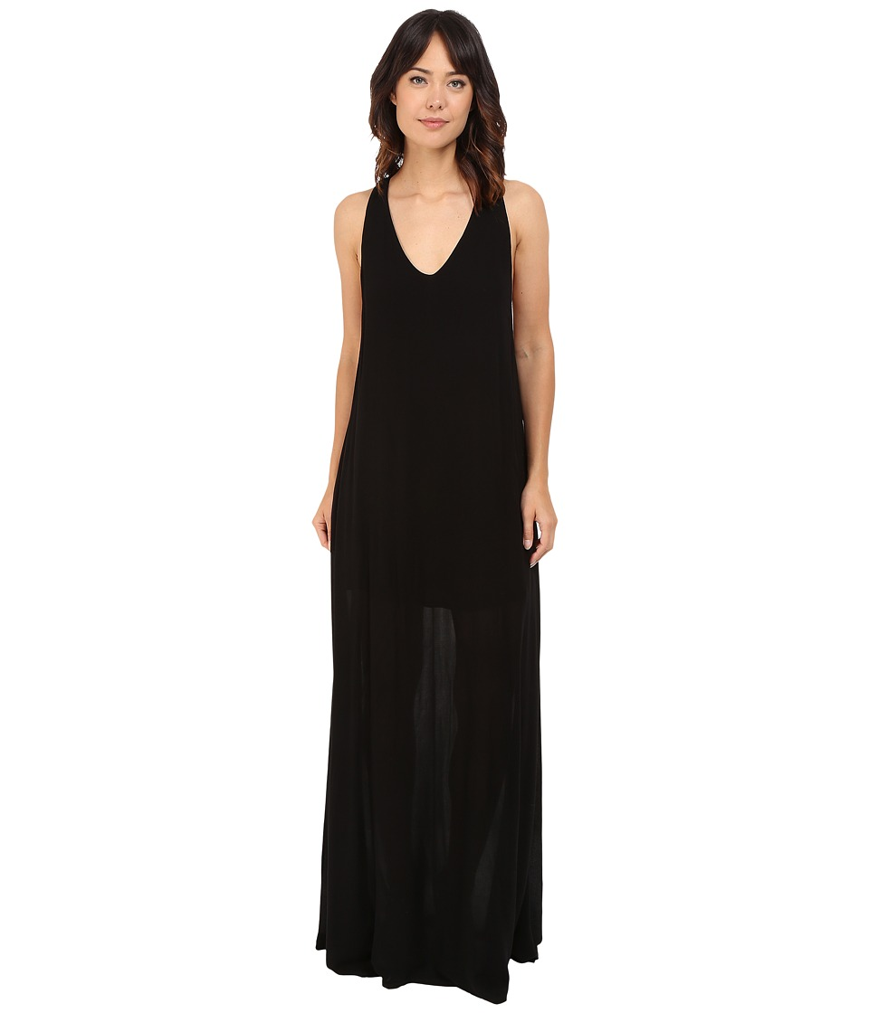 Lanston - Deep V Open Maxi Dress (Black) Women's Dress