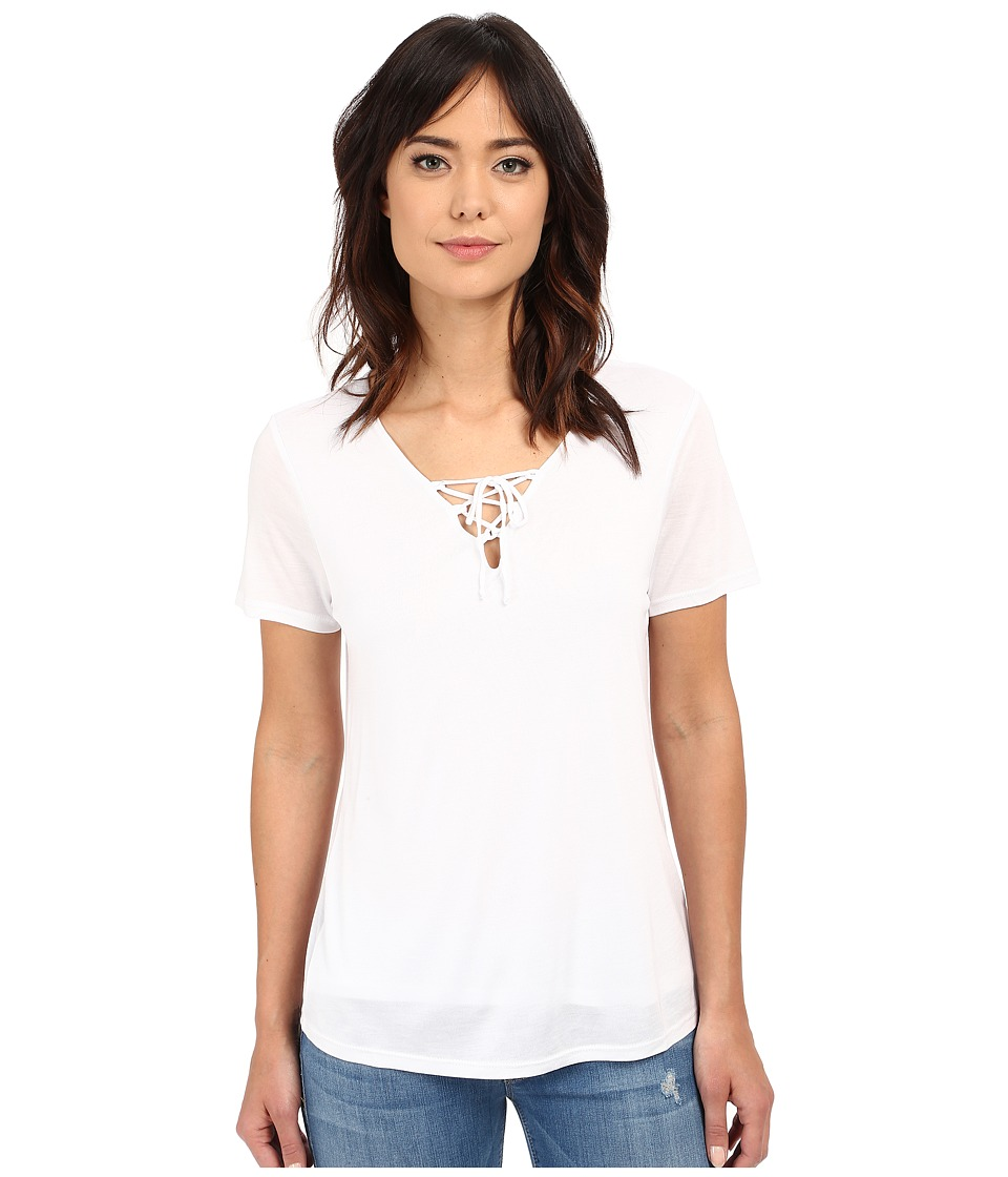 Lanston - Lace-Up Tee (White) Women's T Shirt