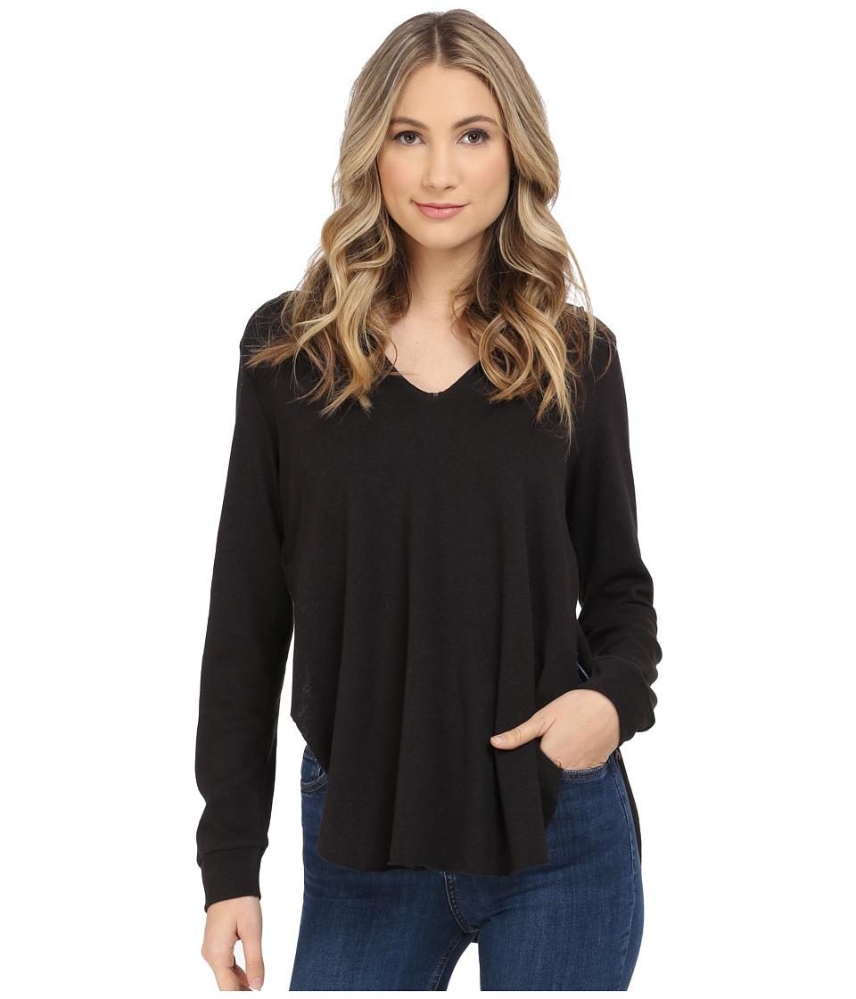 Lanston - Overlap Tunic Hoodie (Black) Women's Sweatshirt