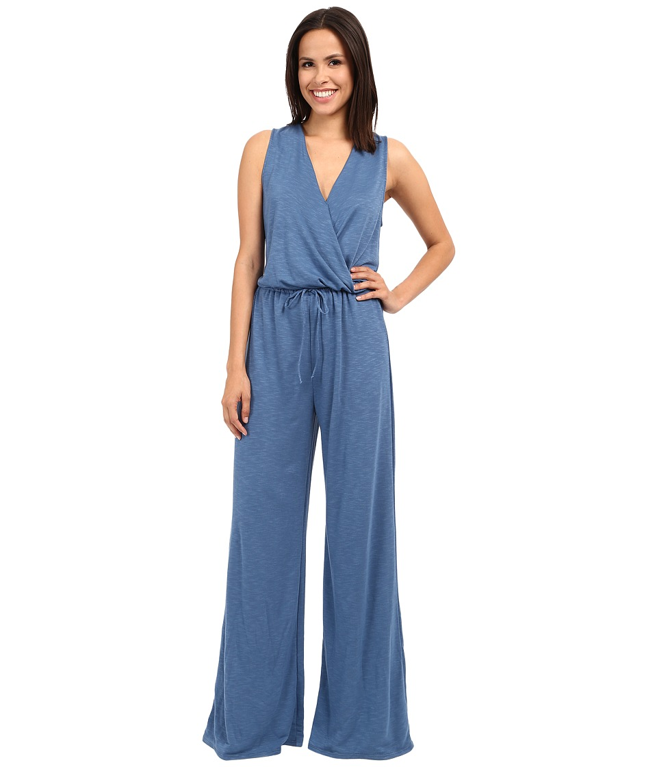 Lanston - Surplice Jumpsuit (Denim) Women's Jumpsuit & Rompers One Piece