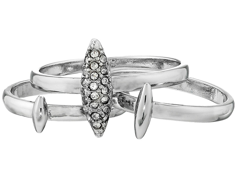 French Connection - Spike Midi Set Ring (Rhodium/Clear Stone) Ring