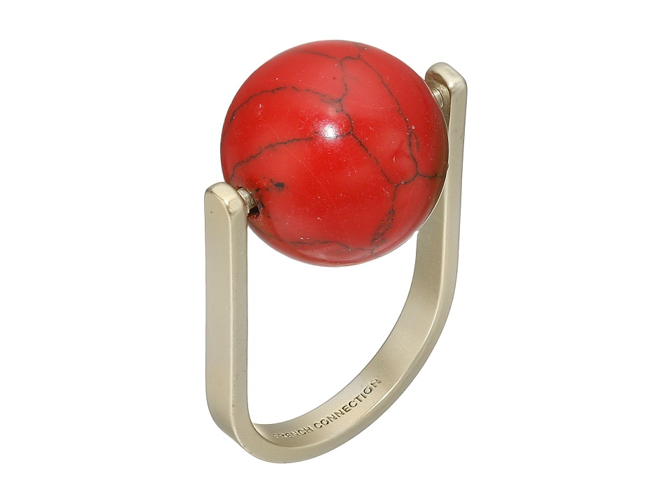 French Connection - Orbital Bead Ring (Matte Gold/Red) Ring
