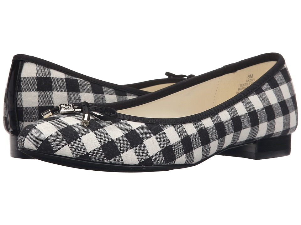 Anne Klein - Ovi (Black/White Gingham Fabric) Women's Flat Shoes