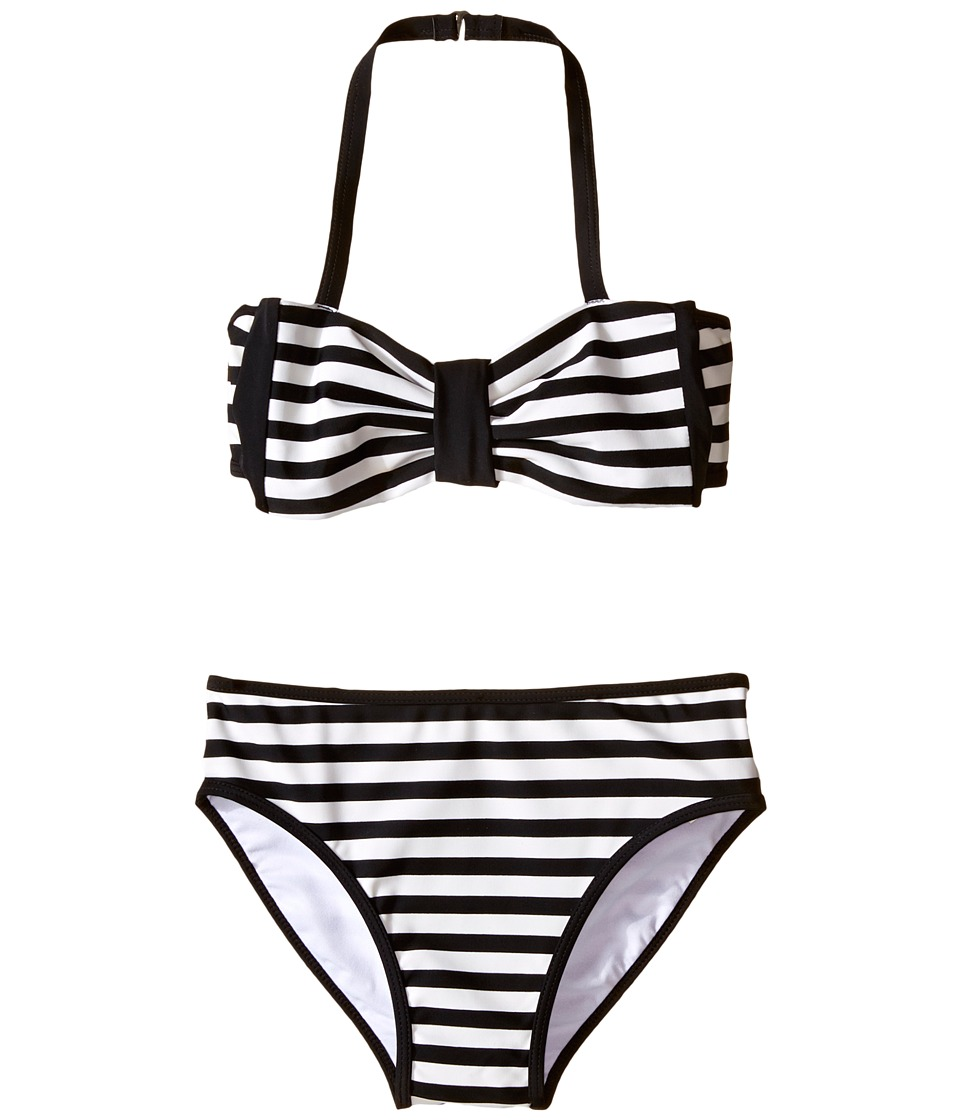 Kate Spade New York Kids - Stripe Two-Piece (Big Kids) (Black/Cream) Girl's Active Sets