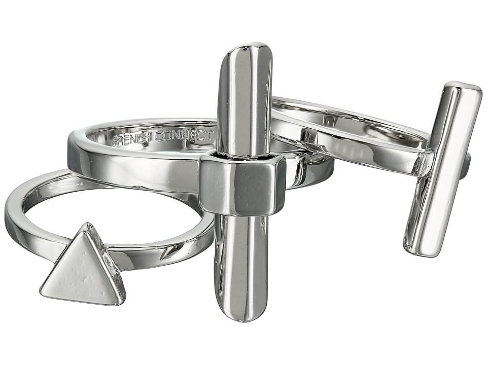 French Connection - Dagger Midi Ring Set (Silver) Ring