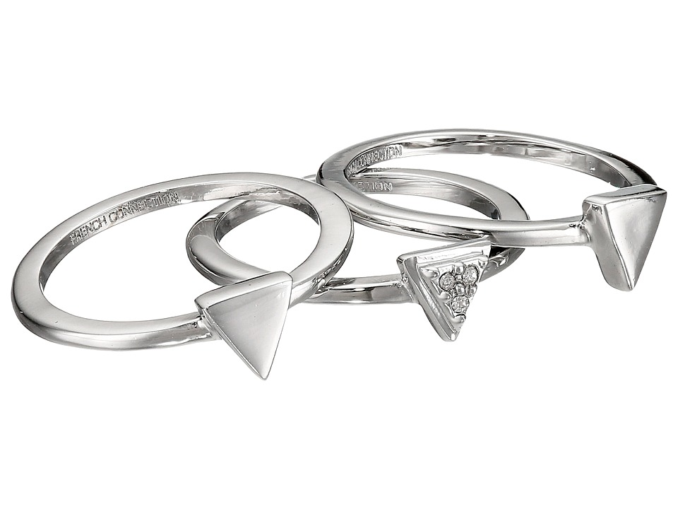 French Connection - Mini Stone Set Triangle Ring Set (Rhodium/Clear Stone) Ring