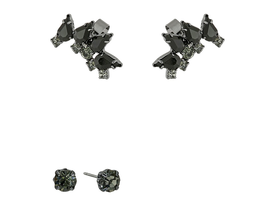 French Connection - Jeweled Ear Cuff Earrings Set (Hematite/Black) Earring