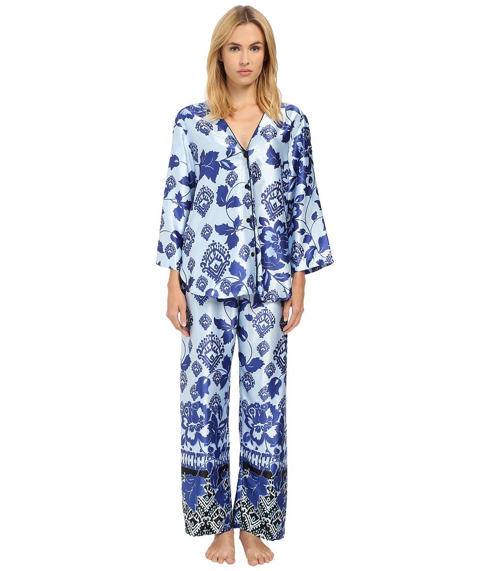 Oscar de la Renta - Silky Charmeuse Pajama (Blue Chandelier Vine) Women's Pajama Sets