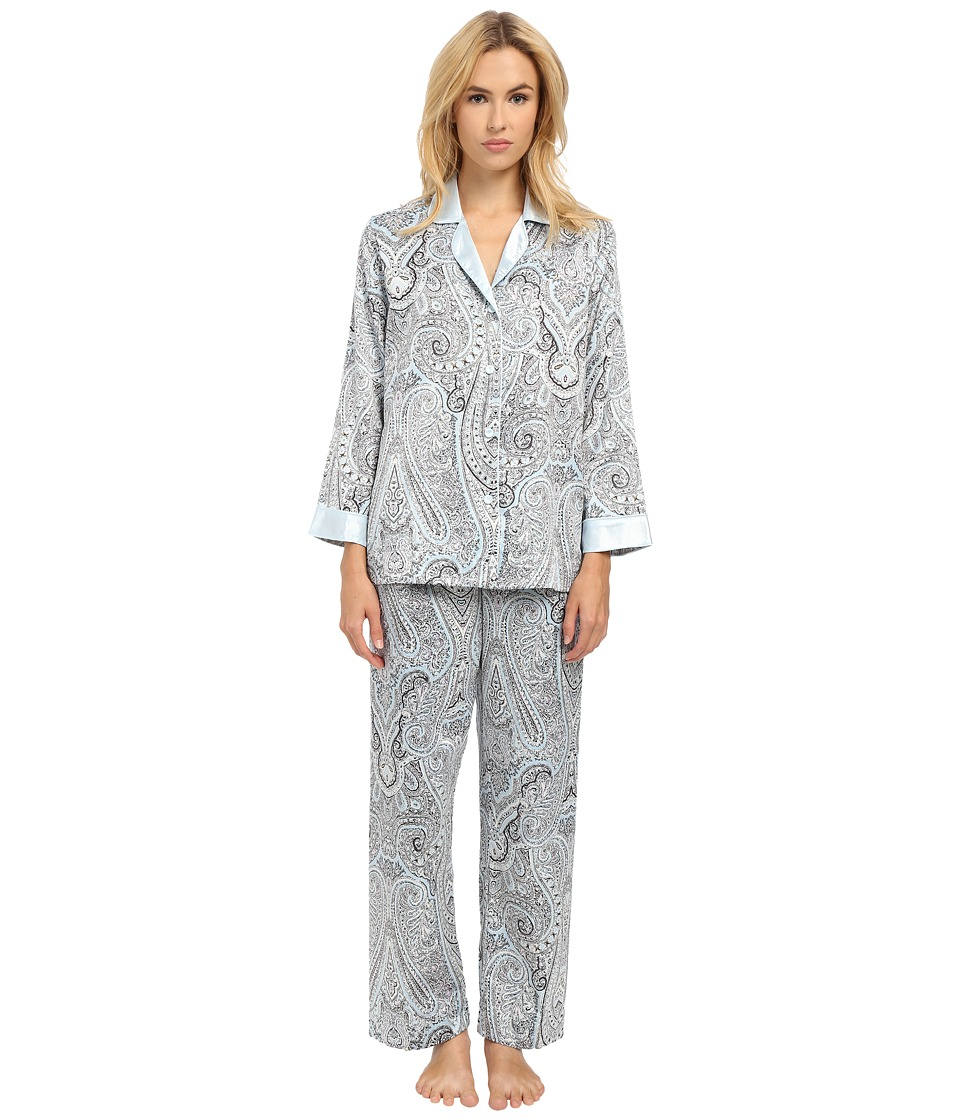 Oscar de la Renta - Brush Back Satin Paisley Pajama (Blue Paisley) Women
