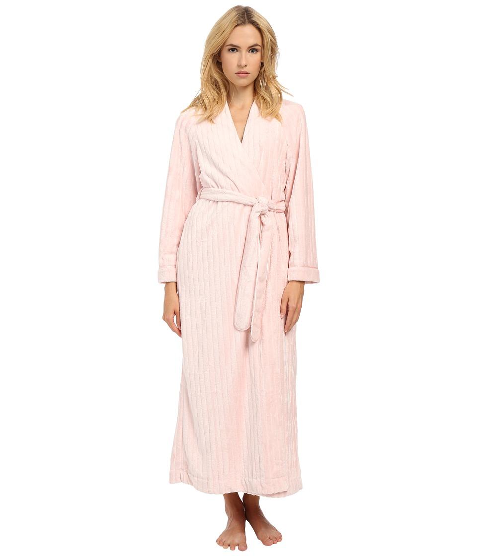 Oscar de la Renta - Embossed Stripe Plush Robe (Blush Pink) Women's Robe