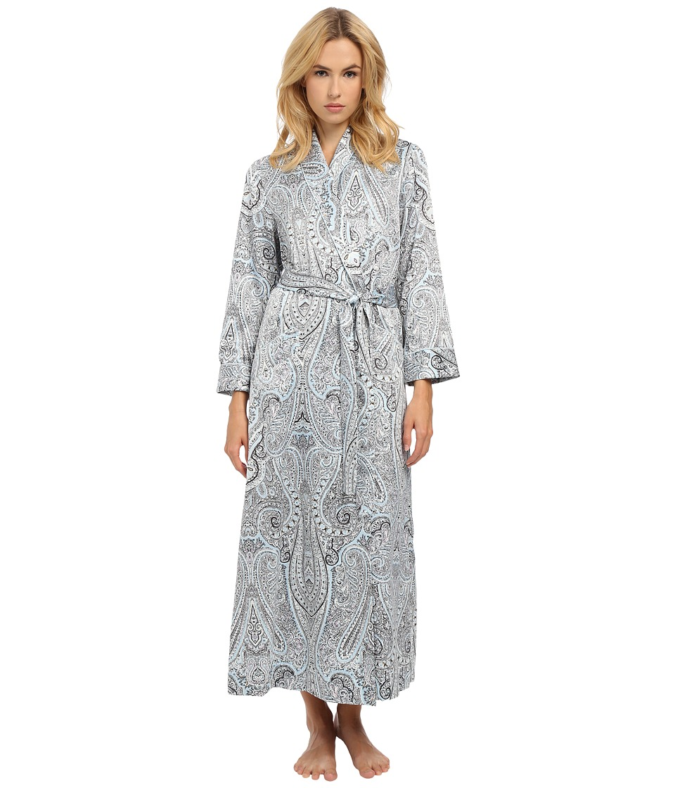 Oscar de la Renta - Brush Back Satin Paisley Long Robe (Blue Paisley) Women's Robe