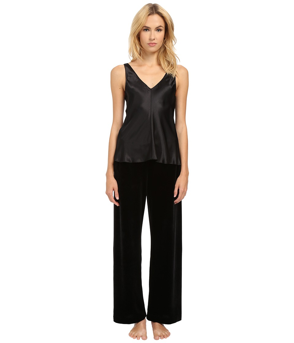 Oscar de la Renta - Two-Piece Pajama - Charmeuse Top and Velvet Pants (Black) Women's Pajama Sets