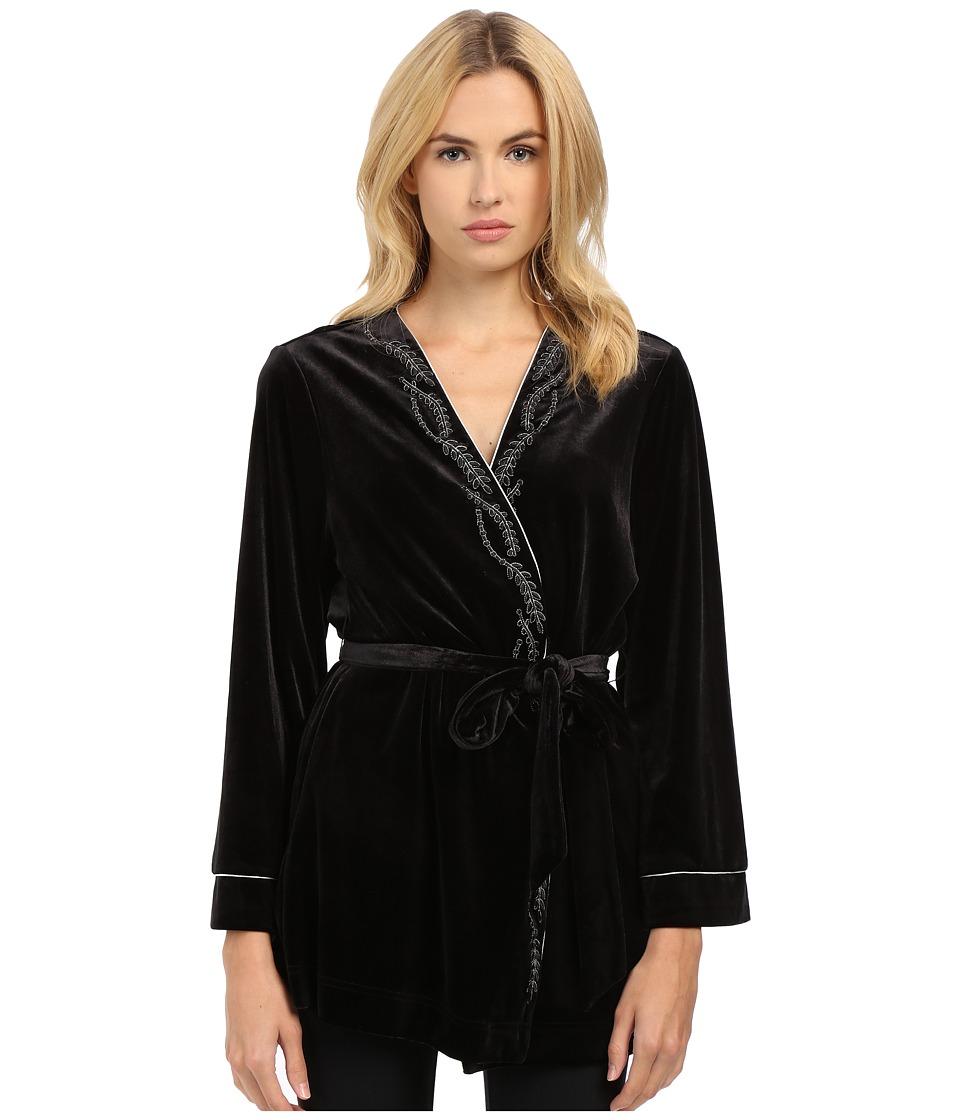 Oscar de la Renta - Velvet Wrap (Black) Women's Pajama